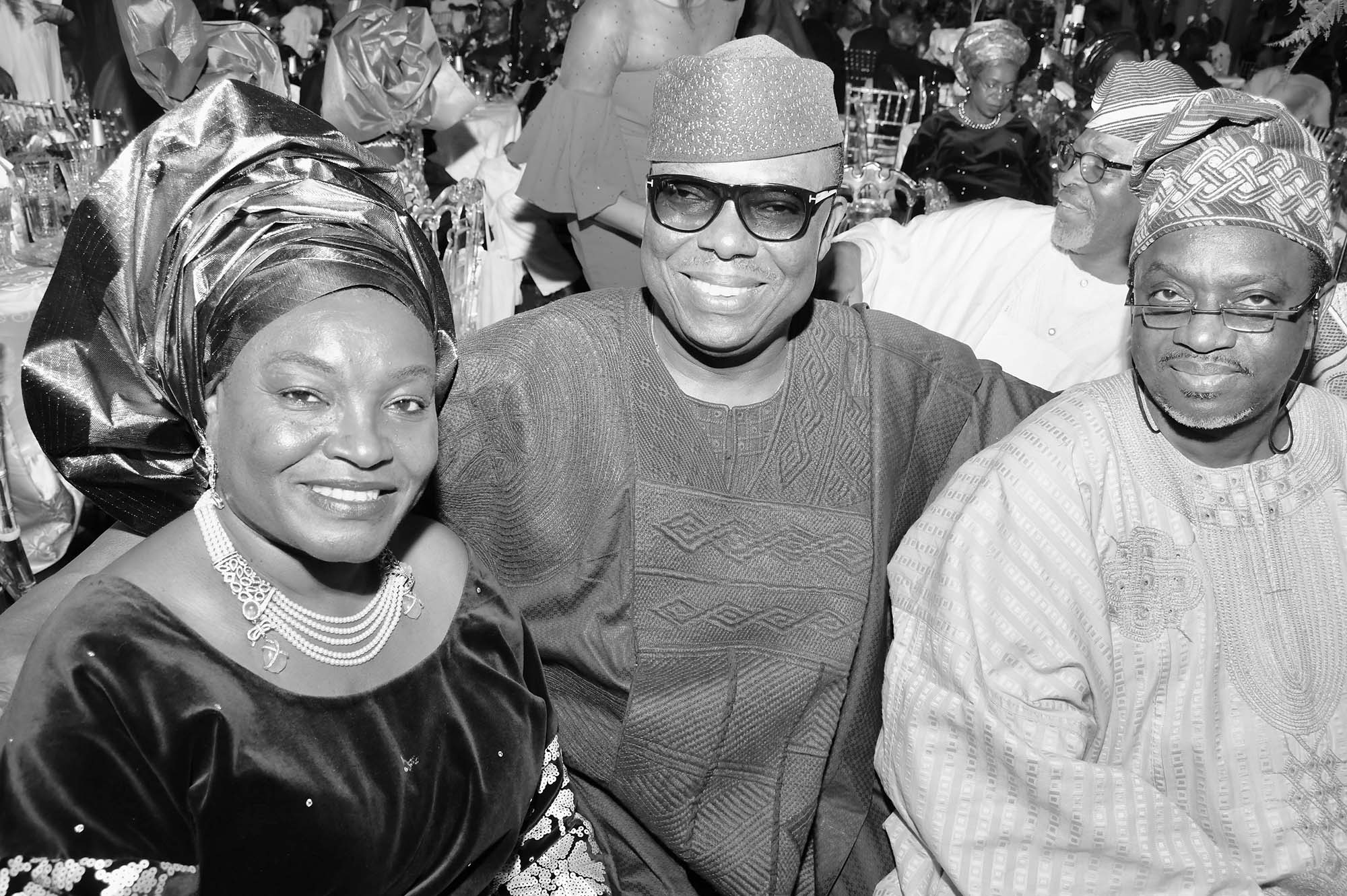 Mrs Funke Osibodu, Left, her husband Gbolly Osibodu and Shola Adeeko.